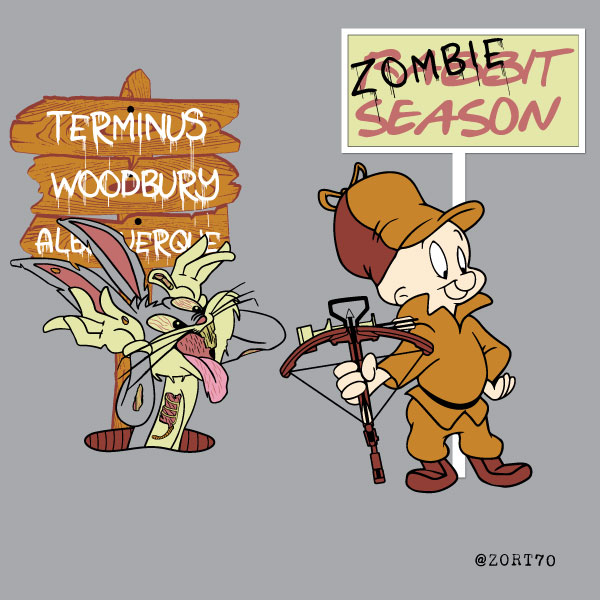 Shh be very very quiet I'm hunting Zombies. A Bugs Bunny / elmer Fudd / Walking Dead mash up t-shirt design