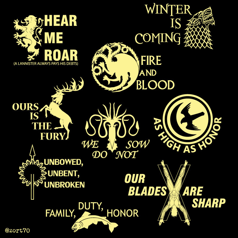 Game of Thrones House Mottos